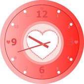 Red love Clock with heart shaped in dial plate Vector — Vector de stock