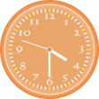 Wall clock vector Vintage orange isolated on white — Stock vektor