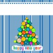 Blue Christmas template with tree on the balls — 图库矢量图片
