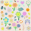 Retro spring nature and animal elements. vector background — Vector de stock