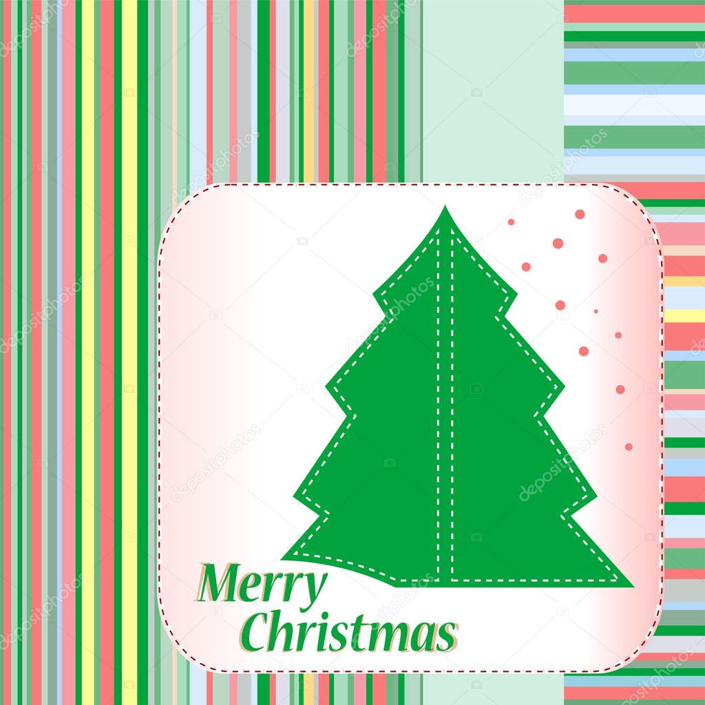 Merry Christmas tree celebration card. Vector illustration  — Stock Vector #7928429