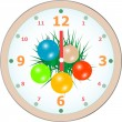 New Year wall clock congratulation card. vector — Stock vektor