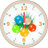 New Year wall clock congratulation card. vector — Vecteur