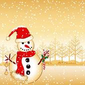 Pupazzo di auguri di natale su terra bianca neve — Vettoriale Stock