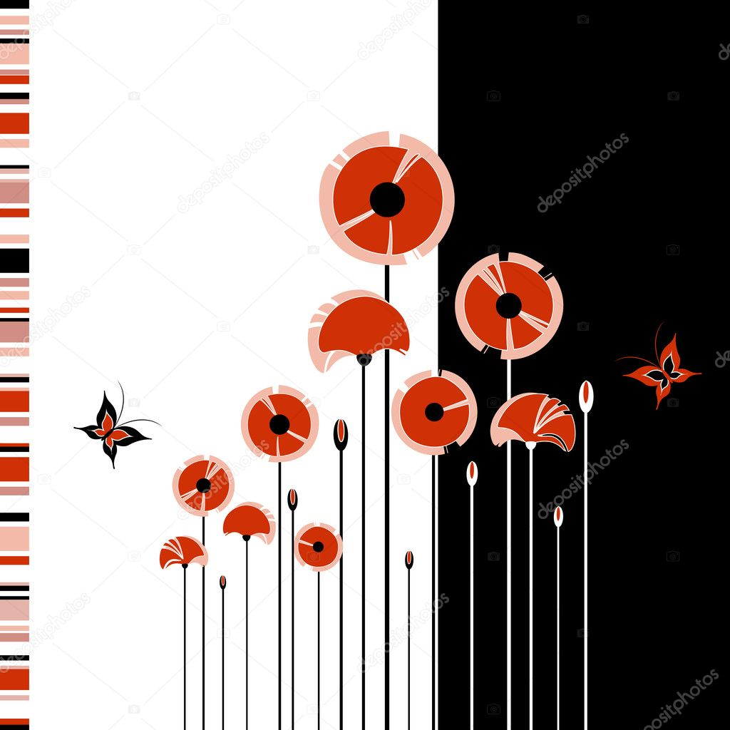 Abstract Background Red Black Abstract Red Poppy on Black