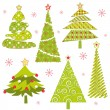 Stock Vector: Set of Christmas tree