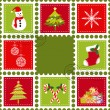 Set of Christmas stamp postage — Stock Vector