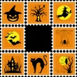 Stock Vector: Halloween illustration set of stamp