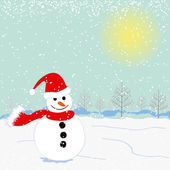 Christmas greeting snowman on white snow land — Stock Vector