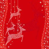 Cartão de saudação veado vermelho Natal — Vetor de Stock