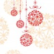 Christmas ornament ball on seamless pattern background — Stock Vector