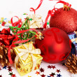 Red Christmas baubles and other decorations — Stock Photo #7323642