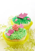 Vanilla cupcakes with various decorations — Stock Photo