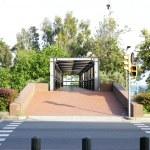 Bridge on Nova Icaria's gardens in Barcelona. — Stock Photo