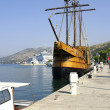 Sailboat in the port of Dubrovnik — Stock Photo