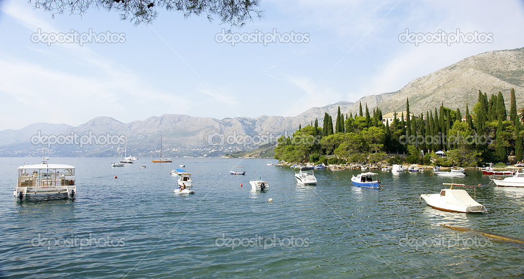 Panoramic of sea and mountains in Cavtat, Croatia.  — Stock Photo #6762901