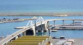 Most zwodzony z portu w barcelonie — Zdjęcie stockowe