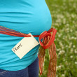 Pregnant woman showing her belly. Tag with space for your text. — Stock Photo