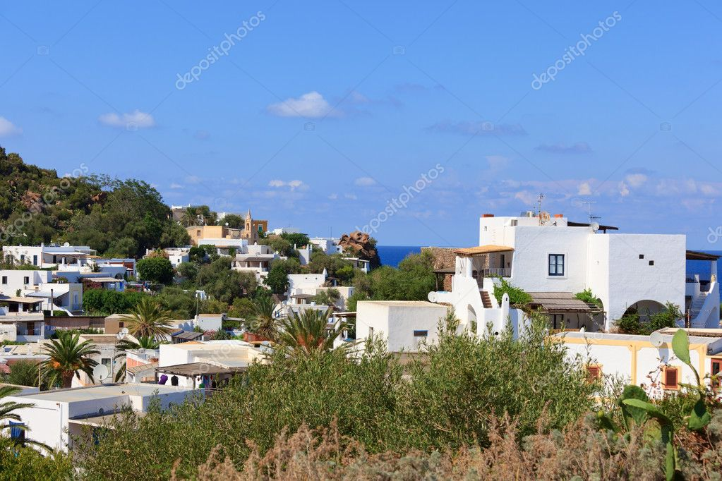 Typical view of Panarea island with characteristic white houses — Stock Photo #7234647