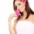 Pretty girl with pink flowers — Stock Photo