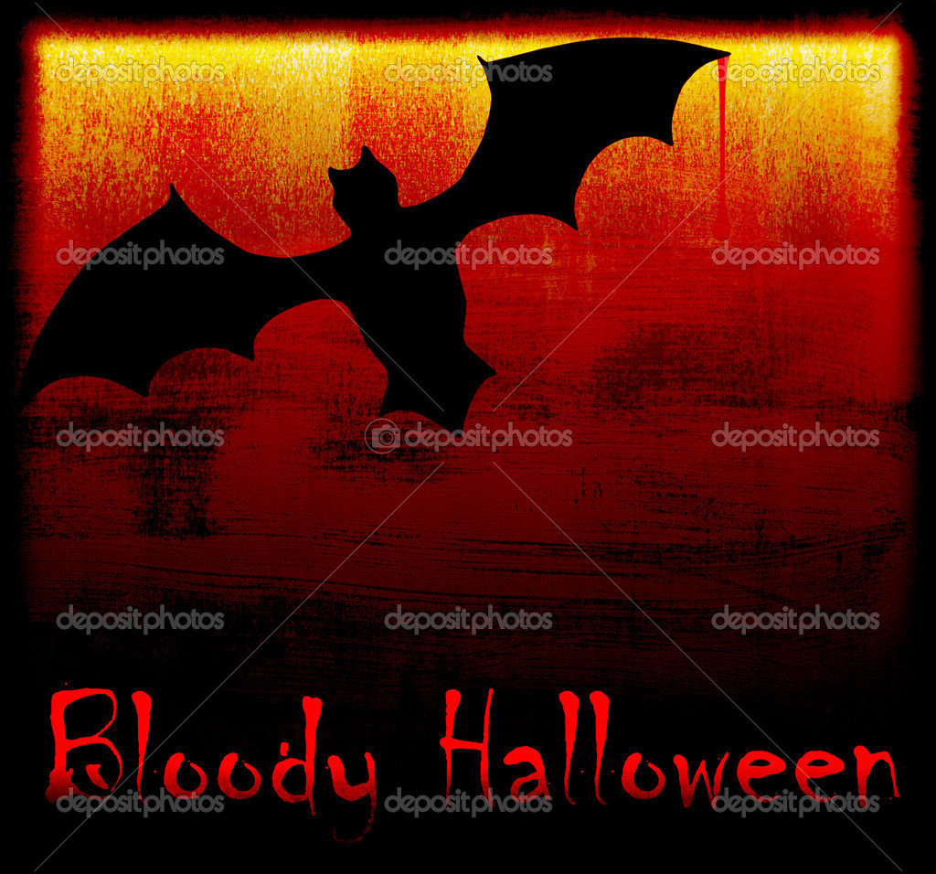 Halloween holiday background card with bat in the darkness — Stock Photo #6819441