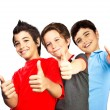 Foto de Stock  : Happy boys teenagers, best friends fun
