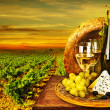 Stok fotoğraf: Wine and cheese romantic dinner outdoor