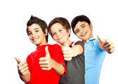 Happy boys teenagers, best friends fun — Stockfoto