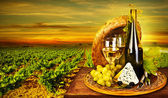 Wine and cheese romantic dinner outdoor — Стоковое фото