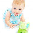 Adorable happy little baby girl playing — Stock Photo #7107456