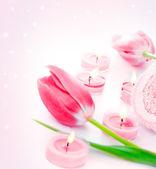 спа свечи с розовый тюльпан цветы — Стоковое фото