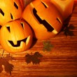 Halloween pumpkins border — Stock Photo