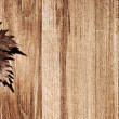 Autumn leaf wooden border — Stock Photo