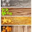 Four season wooden banners - Stock Photo