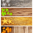 Four season wooden banners - 图库照片
