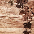 Autumn leaves border over wood background — Stock Photo