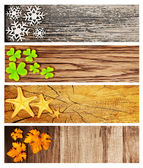 Four season wooden banners — Stock Photo