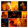 Royalty-Free Stock Photo: Halloween glowing pumpkins collage