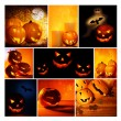 Halloween glowing pumpkins collage — Stock Photo