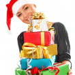 Santa girl with gifts — Stock Photo