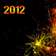 Stock Photo: New Year eve holiday background with fireworks border