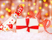 Holiday background with cute snowman — Stock Photo