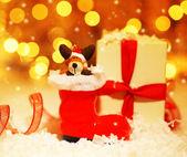 Dovolená pozadí s roztomilá dekorace santa boot — Stock fotografie