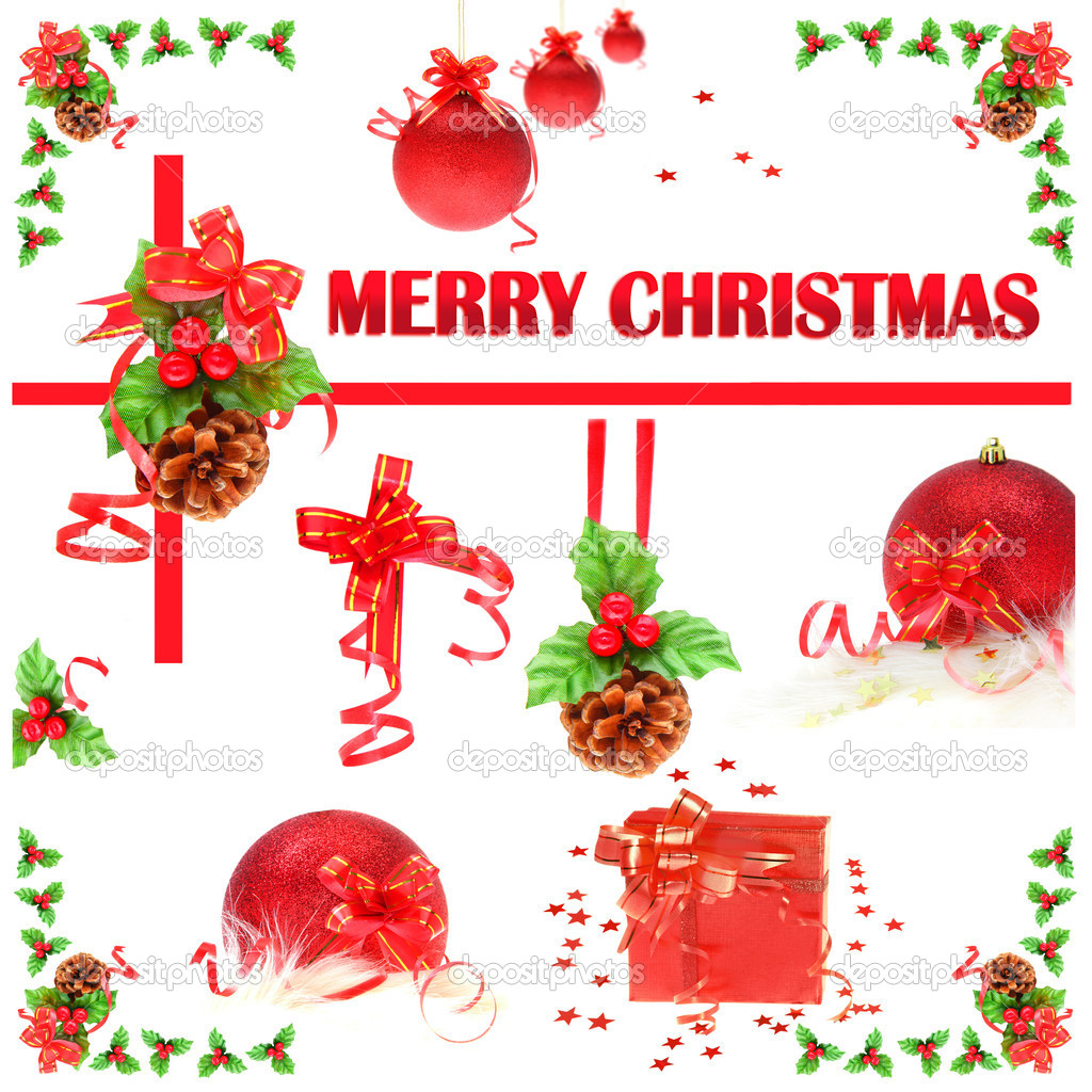 Collage of Christmas ornaments isolated on white  Stock Photo #7580437