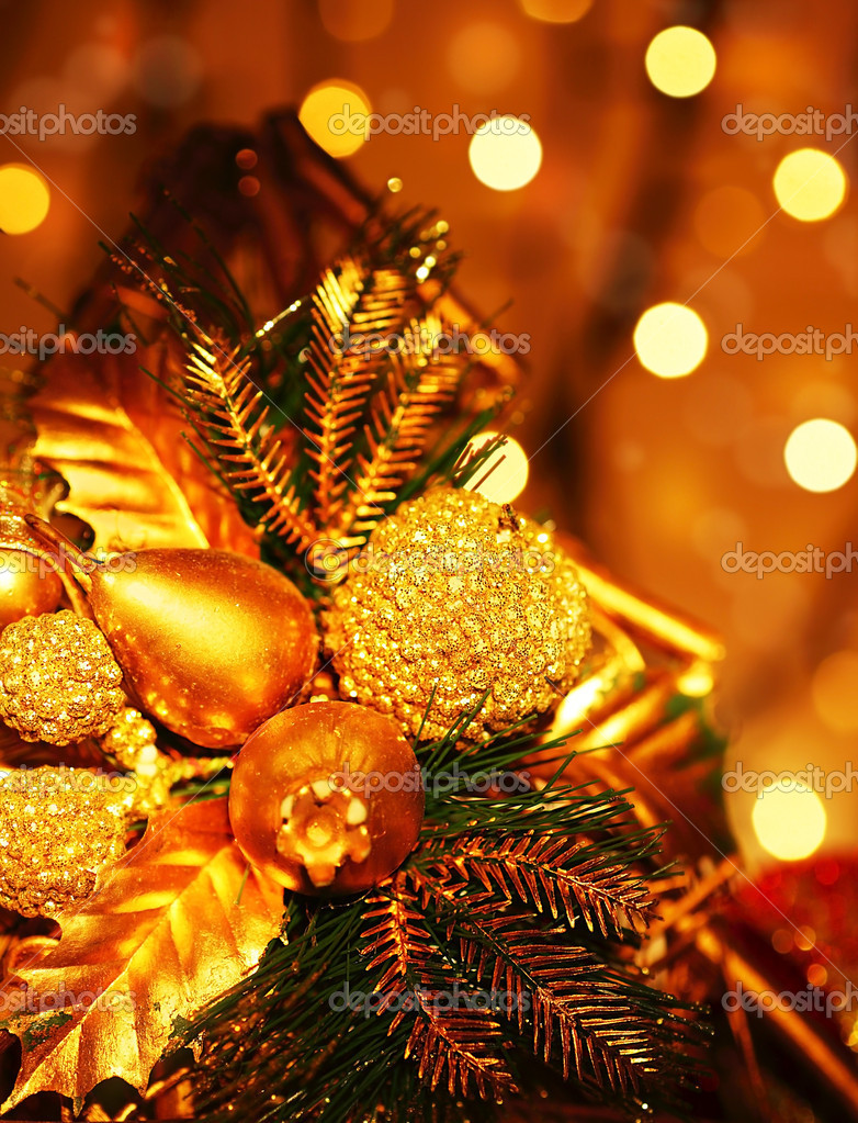 Christmas tree ornament & decoration as holiday background with golden defocus lights — Stock Photo #7580500