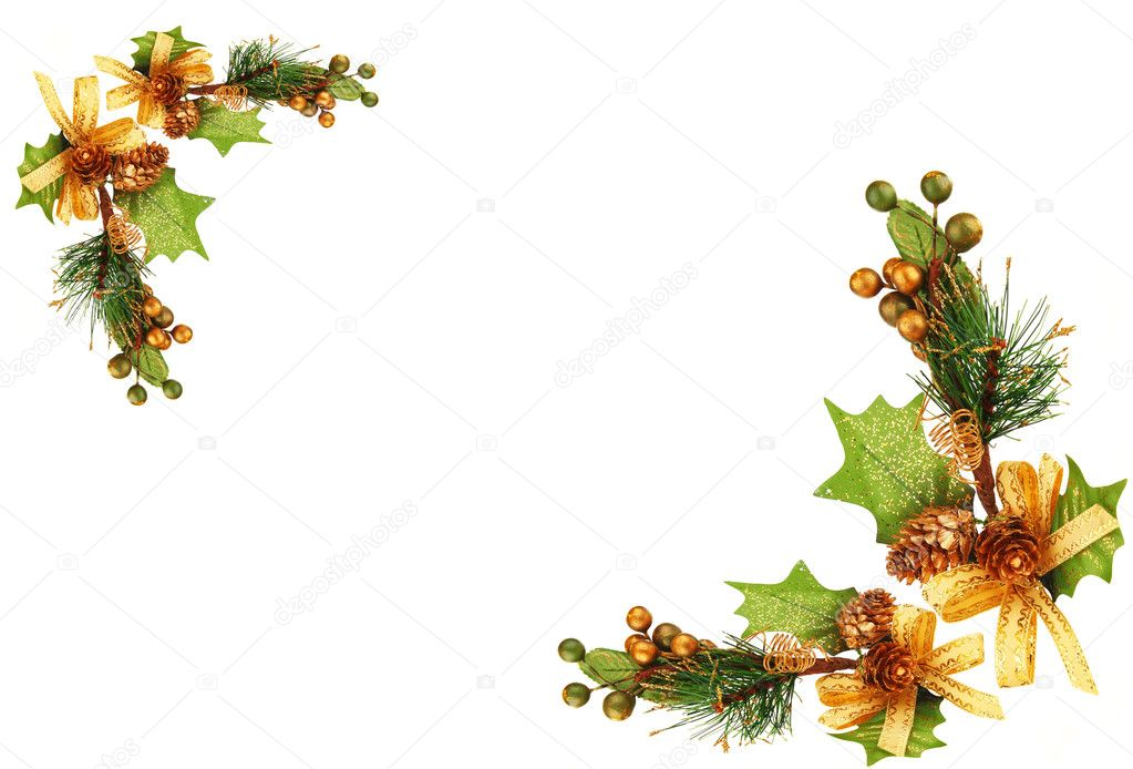 Holiday frame border with Christmas tree branch ornament  as winter decoration isolated on white background — Stock Photo #7581202