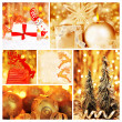 Golden collage of Christmas decorations - Stock Photo