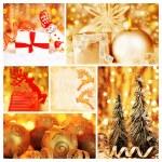 oro collage de adornos de Navidad — Foto de Stock