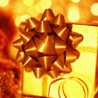 Golden holiday gift box — Stock Photo