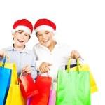 Happy Santa boys with gifts — Stock Photo